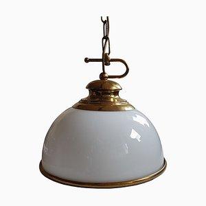 Mid-Century Brass & Milk Glass Pendant Lamp