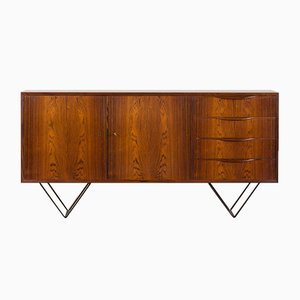 Vintage Skovby Style Rosewood Sideboard with 4 Drawers & Black Steel Legs