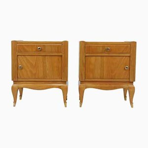 Vintage French Art Deco Cherrywood Bedside Cabinets, Set of 2