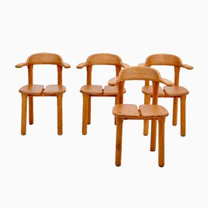 Mid-Century Modern Scandinavian Rustic Dining Chairs, Set of 4