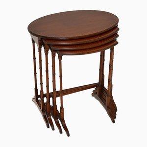 Tables Gigognes Édouardiennes Antiques avec Incrustations, Set de 4