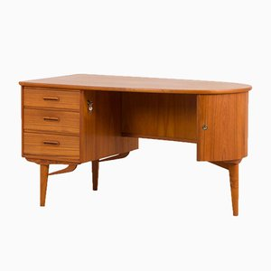 Danish Round Teak Free Standing Executive Desk, 1970s