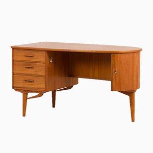 Freistehender Organischer Mid-Century Schreibtisch aus Teak mit Runder Platte, Dänemark, 1960er