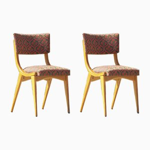 Vintage Chairs in Solid Beech & Fabric, 1950s, France, Set of 2