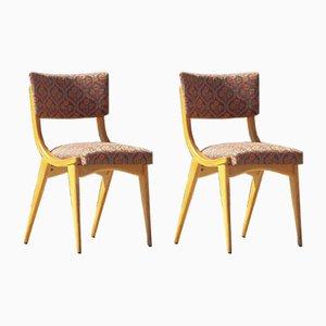 Vintage Stühle aus Massiver Buche & Stoff, Frankreich, 1950er, 2er Set