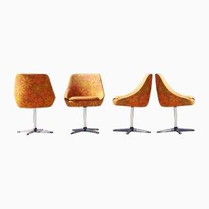Drehbare Space Age Stühle aus Chromstahl & Stoff, 1960er, 4er Set