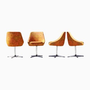 Swivel Space Age Chrome Steel & Fabric Chairs, 1960s, Germany, Set of 4