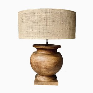 Vintage Massive Round Wooden Table Lamps, Set of 2