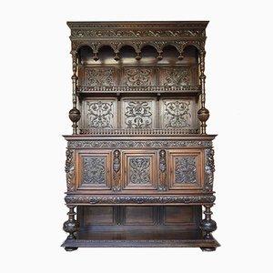 Mueble o buffet Renaissance de nogal tallado con cariátides, siglo XIX