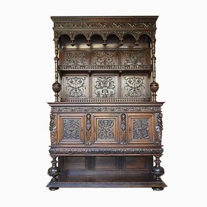 Renaissance Cabinet /Buffet in Carved Walnut With Caryatids, France, 19th Century