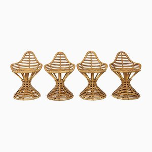 Rattan Stools by Mary Beatrice Bloch for Robert Wengler, Set of 4