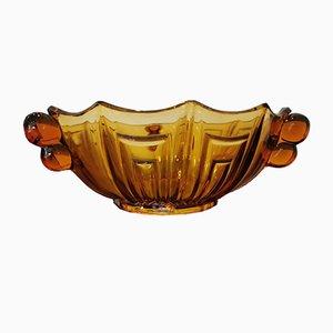 Cuenco naranja vintage de cristal tallado ahumado