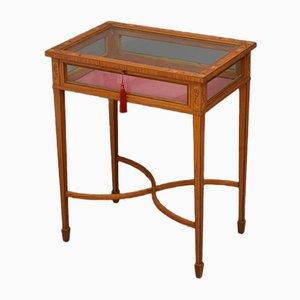 Mesa de bisutería eduardiana de madera satinada con incrustaciones