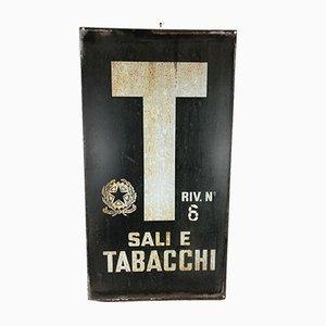 Cartel publicitario italiano Sali E Tabacchi de esmalte en azul y blanco, años 70