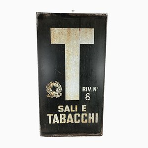 Italian Blue & White Enamel Advertising Sali E Tabacchi Tobacco Sign, 1970s