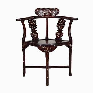 Asian Carved Inlaid Wood Armchairs, Early 20th Century, Set of 4