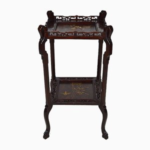 French Japonism Carved Wood & Lacquered Panels Side Table, 1880s