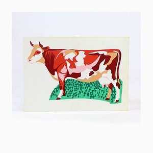 Czech Colorful Plastic Wall Art Illustration of Cow, 1960s