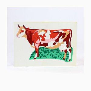 Ilustración de pared checa de plástico de colores de la vaca, años 60