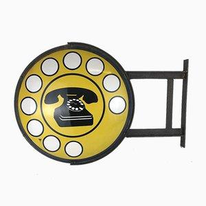 Señal de teléfono italiana de metal de dos caras esmaltado en amarillo, años 70