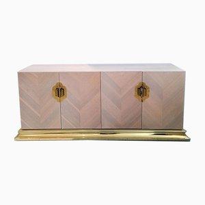 Amerikanisches Vintage Sideboard aus lackiertem Zinkdruckguss mit Messing & goldenen Metallgriffen