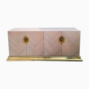 Vintage American Pastel Chevron Wood Plinth Base Ello Sideboard with Brass & Gold Metal Handles