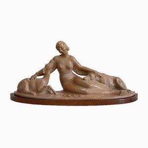 Escultura S. Melani de yeso patinado