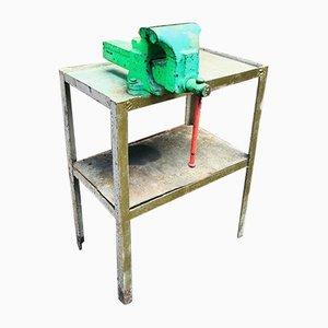 Mesa de trabajo industrial vintage pequeña de acero