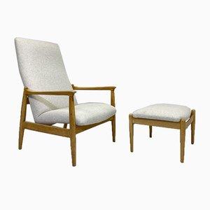 Stuhl mit Hoher Rückenlehne und Ottomane in Beige von Edmund Homa, 1970er, 2er Set