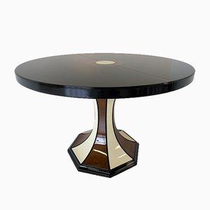 Ausziehbarer italienischer Art Deco Walnuss Tisch in Schwarz & Elfenbein, 1970er