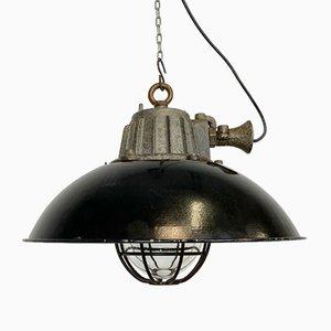 Industrial Black Enamel & Cast Iron Cage Pendant Light, 1950s
