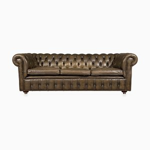 Leather Chesterfield 3-Seat Sofa with Button Down Seats, 20th Century