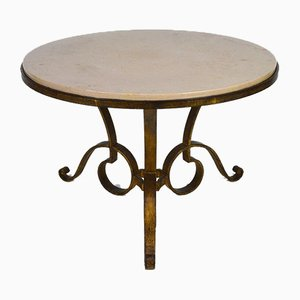Circular Gilded Wrought-Iron & Marble Table by Raymond Subes, 1935