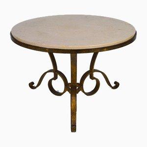 Table Circulaire en Fer Forgé Doré & Marbre par Raymond Subes, 1935