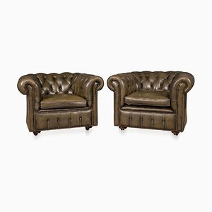 20th Century Leather Chesterfield Armchairs, 1970s, Set of 2
