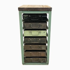 Vintage Industrial Green Iron Chest of Drawers, 1950s