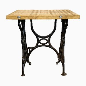 Industrieller Werktisch aus Eisen & Holz, 1950er