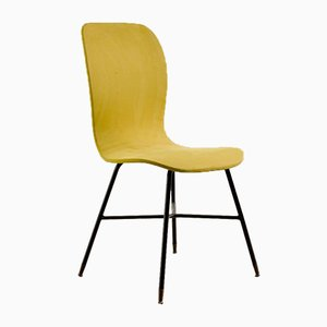 Italian Yellow Alcantara Side Chair by Augusto Bozzi for Saporiti, 1950s