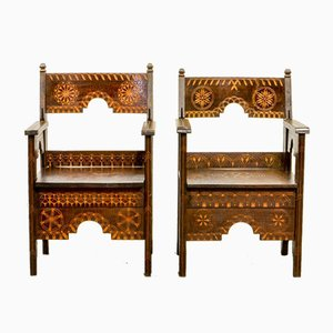 Middle Eastern Decorated Carved Wood Armchairs, 1950s, Set of 2
