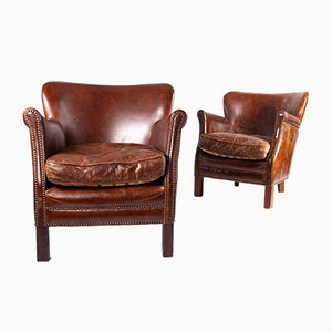 Small Vintage Leather Armchairs, Set of 2
