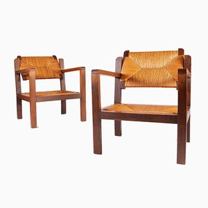 Wood and Straw Chairs with Adjustable Backs, 1960s, Set of 2