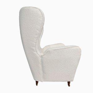 Stühle mit Holzgestell & Bouclé Bezug, 1950er