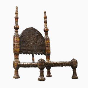 Afrikanischer Beistellstuhl aus geschnitztem Holz & Gestell aus Rohleder, 19. Jh