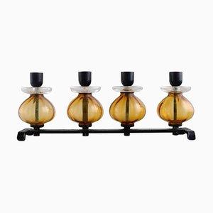 Kerzenhalter aus Gusseisen und Mundgeblasenem Glas von Erik Höglund für Kosta Boda