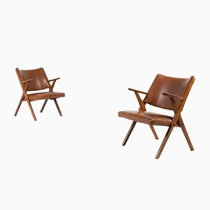 Architektonische Mid-Century Sessel von Dal Vera, Italien 1950er, 2er Set