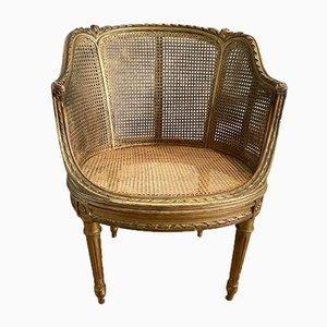 Antiker Französischer Louis XV Bergère Stuhl aus Vergoldetem Schilfrohr