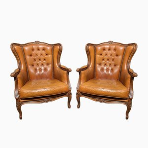 Antique French Leather Armchairs, Set of 2