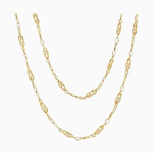 20th-Century 18 Karat Yellow Gold Twisted Links Long Necklace
