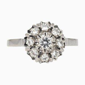 French White Sapphire 18 Karat White Gold Retro Daisy Ring, 1960s
