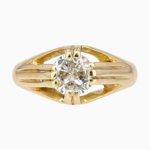 20th-Century Diamond 18 Karat Yellow Gold Bangle Ring